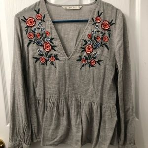 Zara Grey Linen Top with Embroidery
